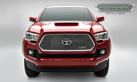Tacoma Grille 16-17 Toyota Tacoma W/Logo Recess Aluminum Polished Laser Billet Series T-REX Grilles