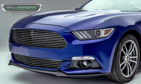 Mustang GT Bumper Grille 15-17 Ford Mustang GT Aluminum Polished 1 Piece Laser Billet Series T-REX Grilles