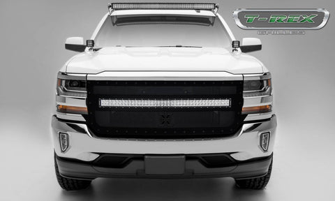 Silverado Grille 1 40 Inch LED Light Bar Middle 16-18 Chevrolet Silverado Mild Steel Powdercoat Black Torch Series T-REX Grilles