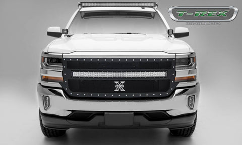Silverado Grille 1 40 Inch LED Light Bar 16-18 Chevrolet Silverado Mild Steel Powdercoat Black Torch Series T-REX Grilles