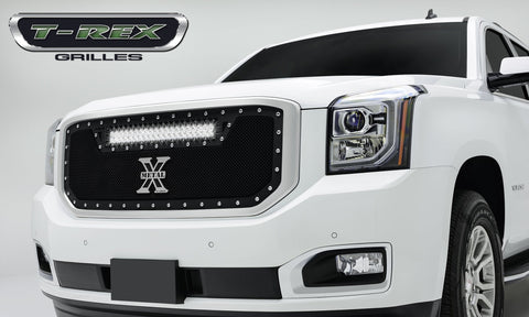 Yukon Grille 15-18 GMC Yukon Mild Steel Powdercoat Black 1 Piece Torch Series T-REX Grilles