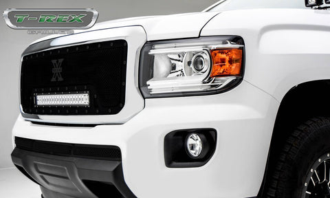 Canyon Grille 15-18 GMC Canyon Mild Steel Powdercoat Black 1 Piece Stealth Torch T-REX Grilles