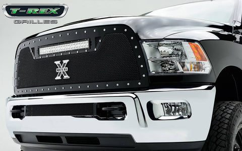 Ram 2500/3500 Grille 10-12 Dodge Ram 2500/3500 Mild Steel Powdercoat Black 1 Piece Torch Series T-REX Grilles