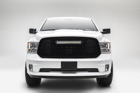 Ram 1500 Grille 13-18 Dodge Ram 1500 Requires Cutting of Center Bars Black Rivets Mild Steel Powdercoat Black 1 Piece Torch Series T-REX Grilles