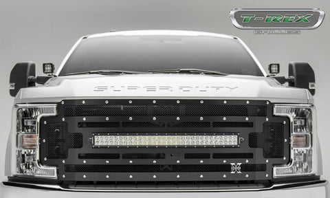 Super Duty Grille 1 30 Inch LED Light Bar W/Black Mesh 17-18 Ford Super Duty W/Forward Camera Mild Steel Powdercoat Black Torch Series T-REX Grilles