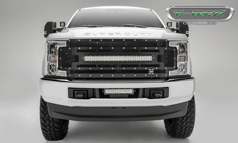 Super Duty Grille 1 30 Inch LED Light Bar 17-18 Ford Super Duty Mild Steel Powdercoat Black Torch Series T-REX Grilles