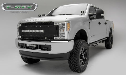 Super Duty Grille 1 30 Inch LED Light Bar 17-18 Ford Super Duty Aluminum Powdercoat Black Torch Series T-REX Grilles