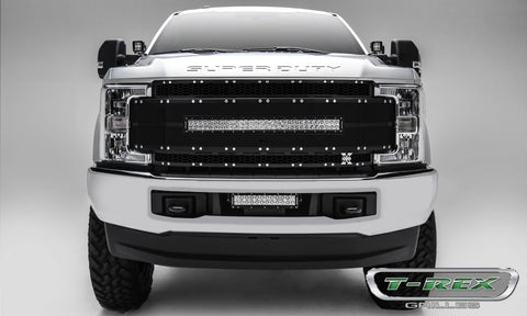 Super Duty Grille 1- 30 Inch LED Light Bar 17-18 Ford Super Duty W/Forward Facing Camera Aluminum Powdercoat Black Torch Series T-REX Grilles