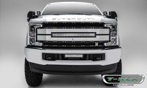 Super Duty Grille - 30 Inch LED Light Bar 17-18 Ford Super Duty W/Forward Facing Camera Aluminum Brushed Black Mesh/Brushed Trim Torch Series T-REX Grilles