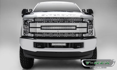 Super Duty Grille 17-18 Ford Super Duty Aluminum Brushed Black Torch Series T-REX Grilles