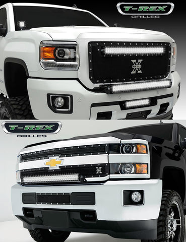 Silverado HD/Sierra HD LED Light Kit 15-18 Chevrolet Silverado HD/Sierra HD Mild Steel Powdercoat Black Torch Series T-REX Grilles