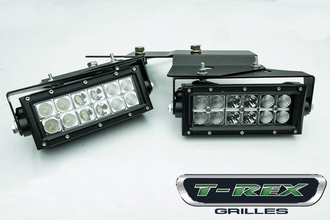 Raptor F-150 SVT LED Light Kit Side Bumper Assembly 2-6 Inch LED Bars 10-14 Ford Raptor F-150 SVT Mild Steel Powdercoat Black 2 Piece Torch Series T-REX Grilles