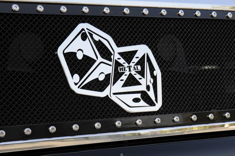 Grille Badge The Hustler Dice Approx 11x6.5 Inch Diameter Chrome Mounts to Full Opening Grilles X Metal Series T-REX Grilles