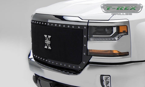Silverado Grille 16-18 Chevrolet Silverado Mild Steel Powdercoat Black X Metal Series T-REX Grilles