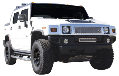 H2 Grille 03-07 Hummer H2 Stainless Polished X Metal Series T-REX Grilles