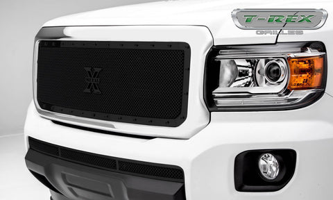Canyon Grille 15-18 GMC Canyon Stainless Powdercoat Black 1 Piece Stealth Metal T-REX Grilles