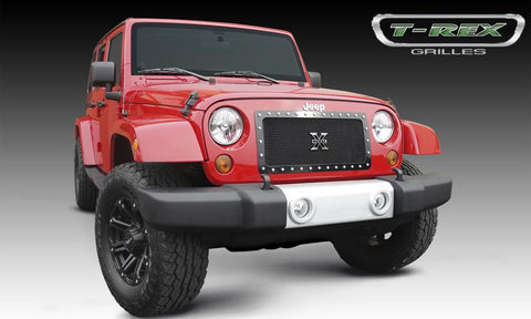 Wrangler Grille 07-17 Jeep Wrangler Mild Steel Powdercoat Black 1 Piece X Metal Series T-REX Grilles