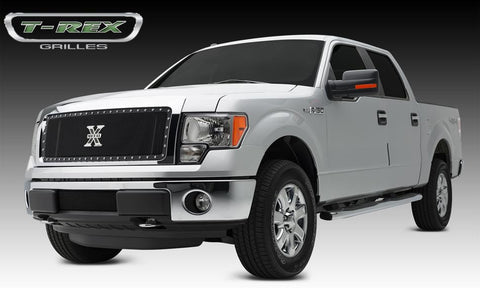 F-150 Grille 13-14 Ford F-150 Mild Steel Powdercoat Black 1 Piece X Metal Series T-REX Grilles