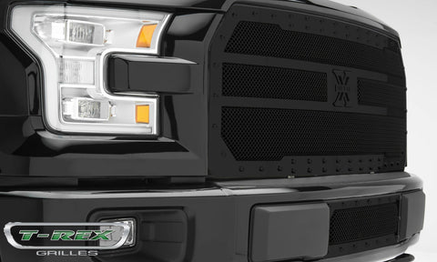 F-150 Grille 15-17 Ford F-150 W/Black Studs Mild Steel Powdercoat Black X Metal Series T-REX Grilles