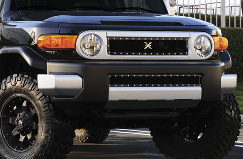 FJ Cruiser Bumper Grille 07-14 Toyota FJ Cruiser Mild Steel Powdercoat Black X Metal Series T-REX Grilles