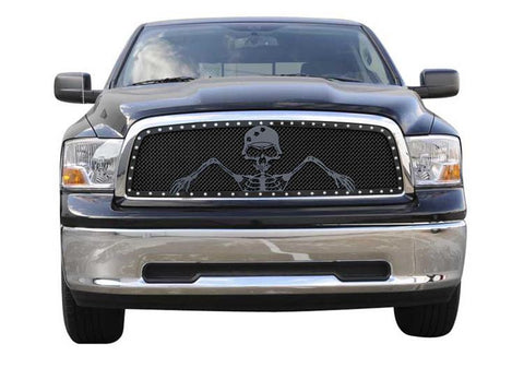Ram 1500 Grille 09-12 Dodge Ram 1500 Mild Steel Powdercoat Flat Black 1 Piece X Metal Series T-REX Grilles