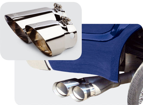 08-12 Ford F250/F350/F450 5In Dual Tip Style Chromed Stainless Steel Clamp Style Exhaust Tips