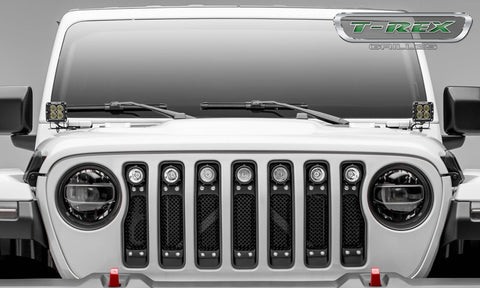 "T-REX Grilles - Jeep Wrangler JL - Torch Series w/ (7) 2"" Round LED Lights sku 6314931"