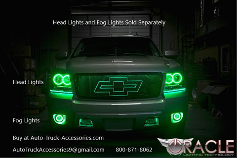 Oracle Halo Headlights and Fog Lights in green color