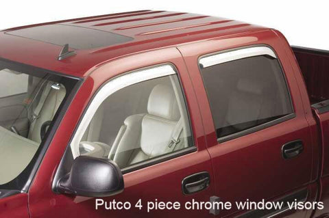 Putco 4-piece Element Chrome Window Visors fits 2002 to 2006 Chevy Avalanche - Auto-Truck-Accessories