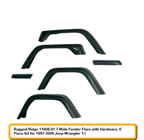 Rugged Ridge 7 Inch Wide Fender Flares With Hardware. 6 Piece Kit For 1997-2006 Jeep Wrangler Tj 11608.01