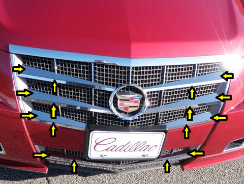 QAA PART  SG48251 fits CTS 2008-2013 CADILLAC (16 Pc: Stainless Steel Top & Bottom Grille Accent Trim, 4-door & Sport Wagon) SG48251