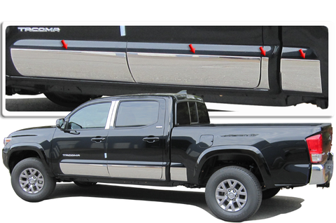 "QAA PART  TH16175 fits TACOMA 2016-2017 TOYOTA (8 Pc: SS Rocker Panel Body Accent Trim, 8"" - 8.375"" tapered width - Full Kit: Bottom of the molding to the bottom of the door, Double Cab, 6' Bed) TH16175"