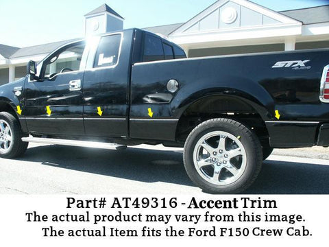 "QAA PART  AT49316 fits F-150 2009-2014 FORD (12 Pc: Stainless Steel Accent Trim - 3/8"" wide, Crew Cab, 6.6' Bed, NO Flares) AT49316"