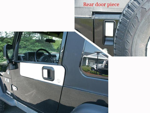 QAA PART  DH45090 fits WRANGLER 1997-2006 JEEP (3 Pc: Stainless Steel Door Handle Trim (2 FRONT and 1 REAR), 2-door) DH45090