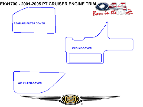 QAA PART  EK41700 fits PT CRUISER 2001 CHRYSLER (3 Pc: Stainless Steel Engine Accent Trim, 4-door) EK41700-1