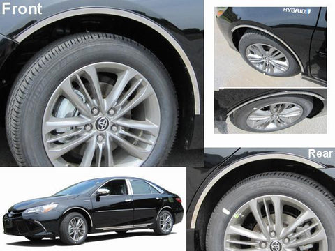 "QAA PART  WQ15130 fits CAMRY 2015-2017 TOYOTA (4 Pc: Stainless Steel Wheel Well Accent Trim w/ 3M Adhesive & Black Rubber Gasket - 7/8"" wide, 4-door) WQ15130"