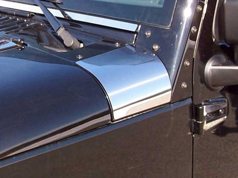 QAA PART  HD47085 fits WRANGLER 2007-2017 JEEP (2 Pc: Stainless Steel Upper Hood Accent Trim, 4-door) HD47085