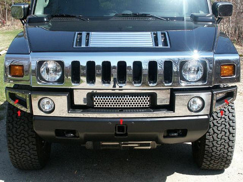 QAA PART  HV43007 fits H2 2003-2009 HUMMER (5 Pc: Stainless Steel Front Bumper Trim, SUV) HV43007