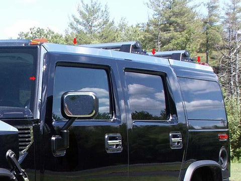 QAA PART  HV43017 fits H2 2003-2009 HUMMER (8 Pc: Stainless Steel Top Rail Accent Trim, SUV) HV43017