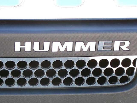 "QAA PART  HV46307 fits H3 2006-2009 HUMMER (6 Pc: Stainless Steel Front Bumper ""HUMMER"" Letter Inserts, SUV) HV46307"