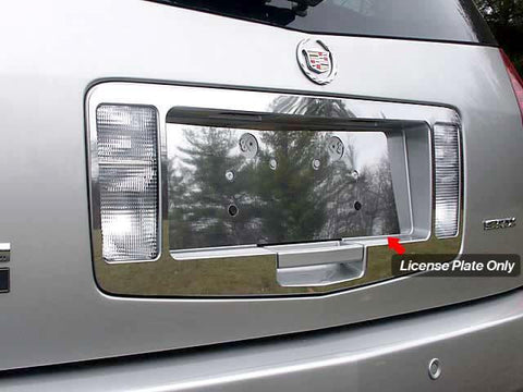 QAA PART  LP44260 fits SRX 2004-2009 CADILLAC (1 Pc: Stainless Steel License Plate Bezel, 4-door, SUV) LP44260