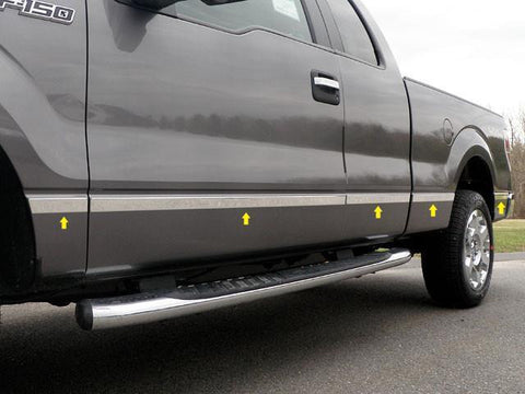 "QAA PART  MI44300 fits F-150 2004-2014 FORD (10 Pc: Stainless Steel Molding Insert Trim - 1.5"" wide, Super Cab, 5.5' Bed, NO Flares) MI44300"