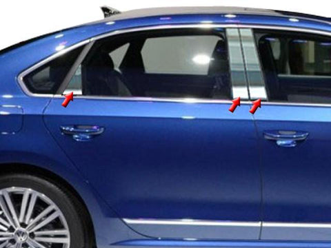QAA PART  PP12676 fits PASSAT 2012-2018 VOLKSWAGEN (6 Pc: Stainless Steel Pillar Post Trim Kit, 4-door) PP12676