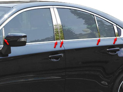 QAA PART  PP15448 fits LEGACY 2015-2018 SUBARU (10 Pc: Stainless Steel Pillar Post Trim Kit, 4-door) PP15448
