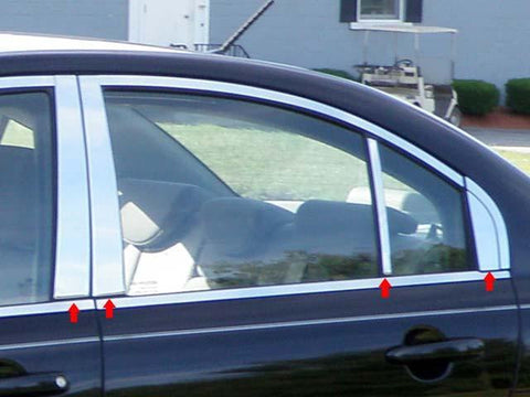 QAA PART  PP27367 fits ACCENT 2006-2011 HYUNDAI (8 Pc: Stainless Steel Pillar Post Trim Kit, 4-door) PP27367