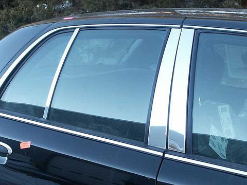 QAA PART  PP32481 fits GRAND MARQUIS 1992-2010 MERCURY (6 Pc: Stainless Steel Pillar Post Trim Kit , 4-door) PP32481