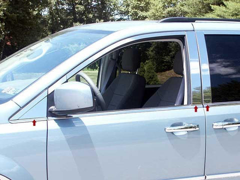 QAA PART  PP48896 fits GRAND CARAVAN 2008-2018 DODGE (6 Pc: Stainless Steel Pillar Post Trim Kit, 4-door) PP48896
