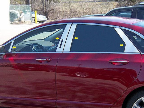 QAA PART  PP53632 fits MKZ 2013-2018 LINCOLN (8 Pc: Stainless Steel Pillar Post Trim Kit w/ keyless entry access, 4-door) PP53632