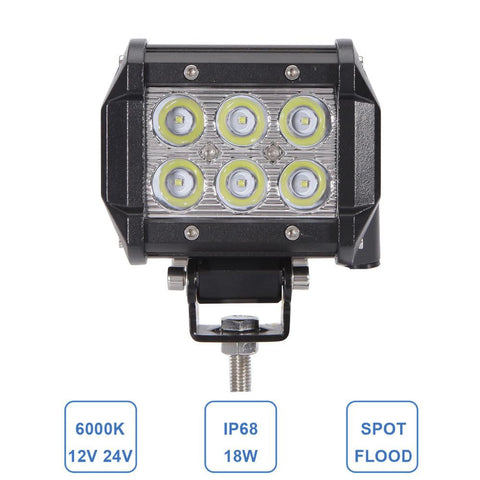 "4"" 18W LED Work Light Driving Lamp Motorcycle Tractor Boat Off Road 4WD 4x4 SUV ATV Spot Flood Offroad 12V 24V Fog Worklight - Auto-Truck-Accessories"