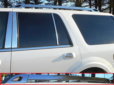 QAA PART  RR55383 fits EXPEDITION 2008-2017 FORD (6 Pc Stainless Steel Roof Rack Trim - Note: This item adheres to factory Roof Rack Trim. You MUST have factory Roof Rack Trim to use this item, 4-door, SUV, NO EL) RR55383